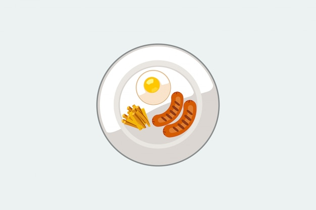 Vector illustration fried french sausage in dish on the white blackground