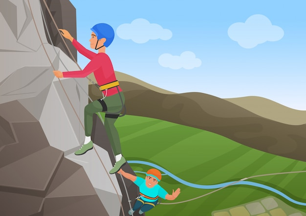 Vector illustration of frome above two men with professional equipment climbing on big rock.