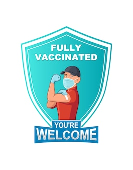 Vector illustration of fully vaccinated workers