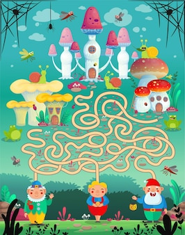 Vector illustration. fun game labyrinth, maze for children. which gnome lives in which mushroom house?