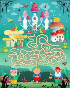 ベクトルイラスト。楽しいゲームの迷路、子供のための迷路。どのノームがどのキノコの家に住んでいますか?