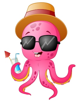 Vector illustration of funny cartoon octopus summertime