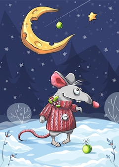 Vector illustration of a funny mouse in the snow under moon