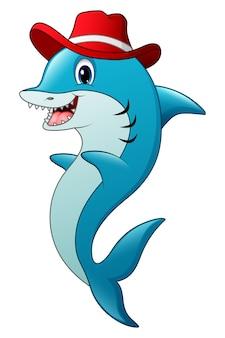 Vector illustration of funny shark cartoon wearing a hat