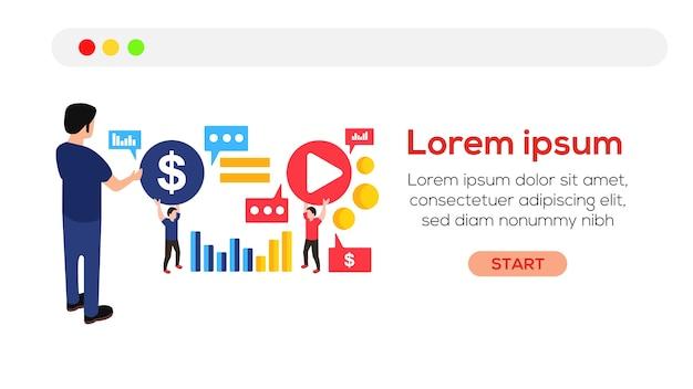 ベクターイラストオンラインでお金を得るウェブサイトのデザイン