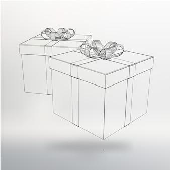 Векторная иллюстрация подарочная коробка. абстрактный фон вектор творческой концепции. многоугольные фирменные бланки и брошюры в стиле дизайна.