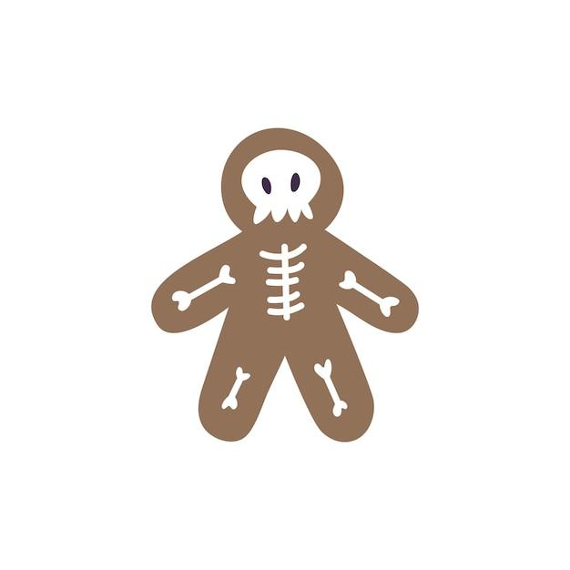 Vector illustration gingerbread man bone skeleton - holiday halloween bake isolated on white background.