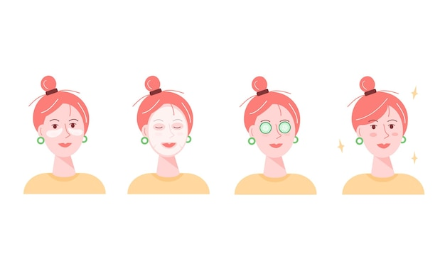 Vector illustration of a girl doing cosmetic procedures.
