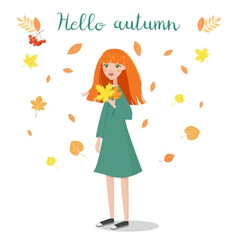 Vector illustration of girl holding autumn leaves