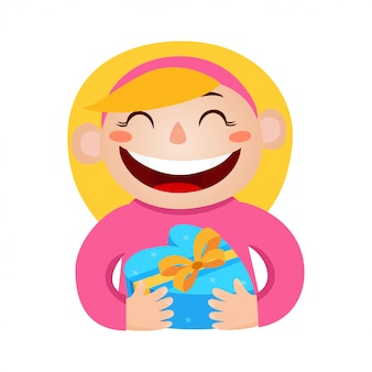 Vector illustration of girl holding a gift in wrapped heart-box