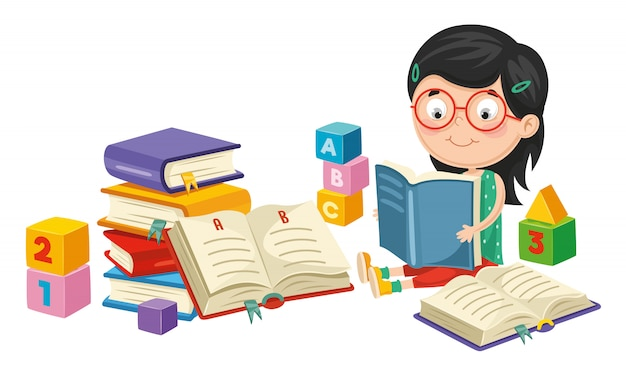 Vector illustration of girl reading book