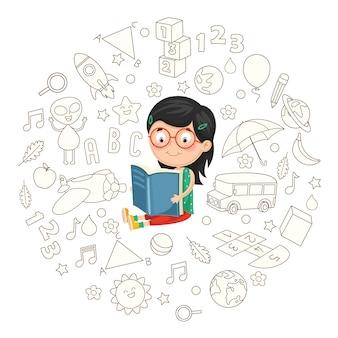 Vector illustration of girl reading book
