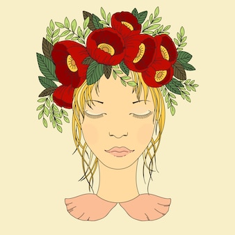 Vector illustration of a girl in a wreath of red flowers.