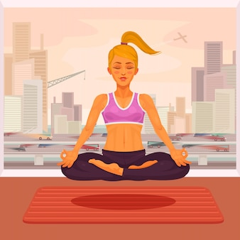 Vector illustration of a girl yoga in the lotus position