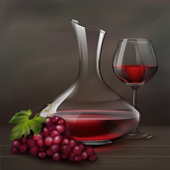 Vector illustration. glass of red wine next to decanter and bunch of grapes on wood table