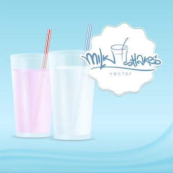 Vector illustration: glasses milkshake