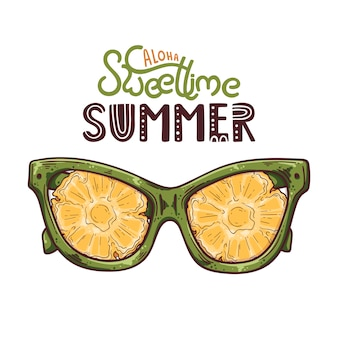 Vector illustration of glasses with pineapple instead of lenses.