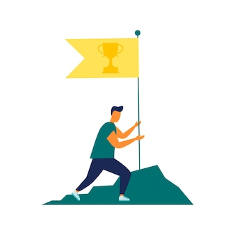 Vector illustration goal achievement hard work flag as a symbol of success and height