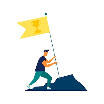 Vector illustration goal achievement hard work flag as a symbol of success and heightachieving