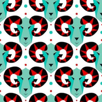 Vector illustration of goat and sheep, symbol. geometric decorative style. flat seamless pattern.