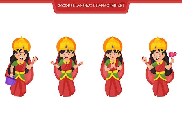 Vector illustration of goddess lakshmi character set
