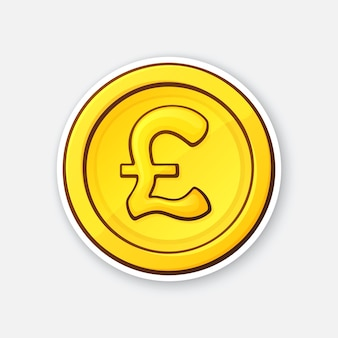 Vector illustration gold coin of british pound cash money the symbol of world currencies