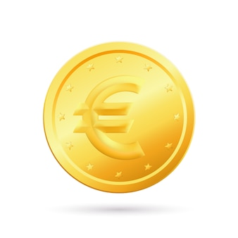 Vector illustration of gold coin with euro sign isolated
