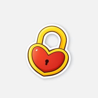 Векторная иллюстрация золотой замок в форме сердца символ дня святого валентина мультфильм наклейка