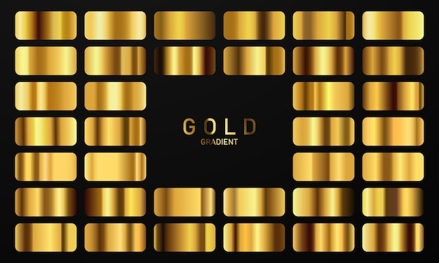 Vector illustration of a golden gradient gold square collection set