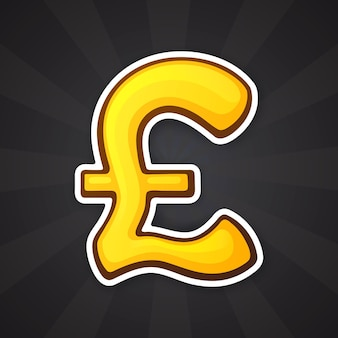 Vector illustration golden pound sign the symbol of world currencies sticker in cartoon style