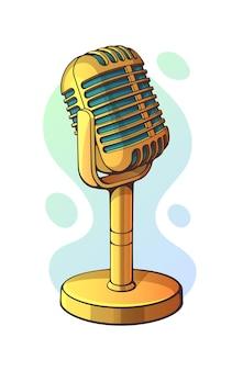 벡터 일러스트 레이 션. 음악, 소리, 음성, 말하기, 라디오 녹음을 위한 황금 복고풍 마이크. 그래픽 디자인에 대한 개요가 있는 클립 아트. 재즈, 블루스, 록 빈티지 마이크. 흰색 배경에 고립