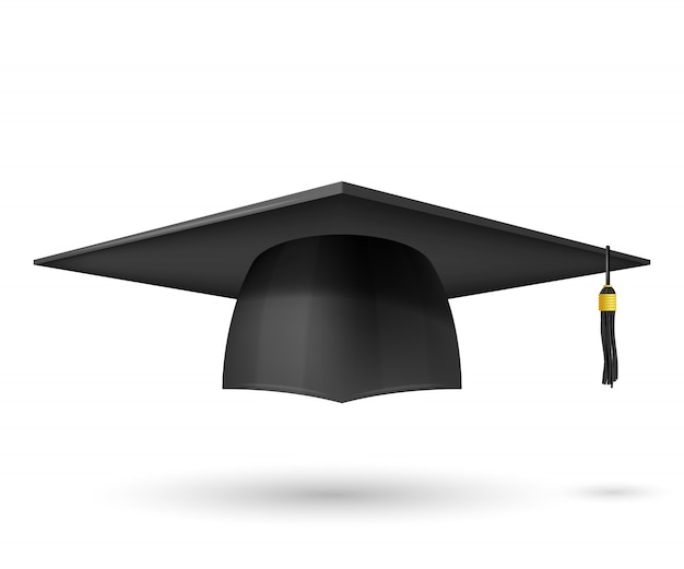 Vector illustration graduate hat with a tassel. symbol graduation. the subject of a university graduate, a traditional headdress.