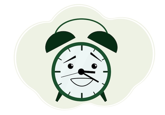 Vector illustration of green alarm clock with emotion of embarrassment and embarrassment