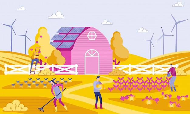 Vector illustration green energy in farm flat.