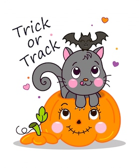 Vector illustration of grey cat in pumpkin with bat. lovely witch cat in pumpkin character cartoon.