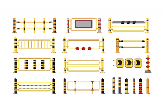 Vector illustration of a guardrail set