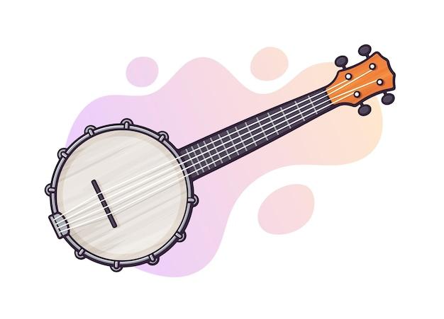 ベクトルイラスト。カントリーミュージックバンジョー用ギター。弦楽器の撥弦楽器。ブルース、カントリー、フォーク、ジャズの機材。グラフィックデザインのための輪郭のクリップアート。白い背景で隔離