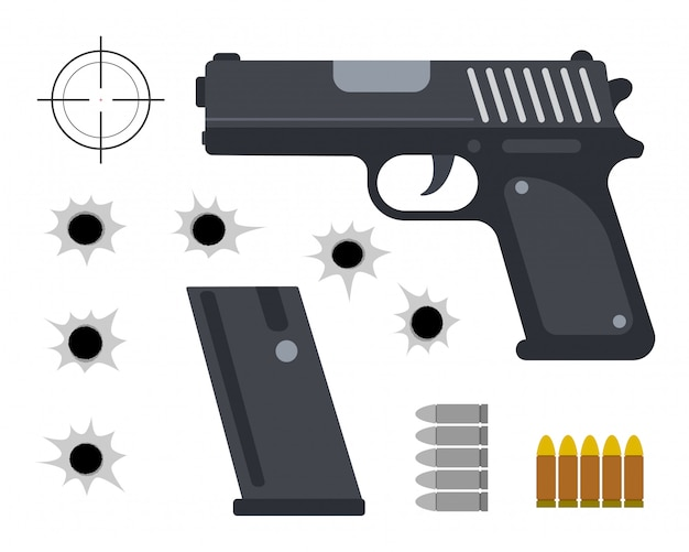 Vector illustration of gun with bullet set and bullet holes