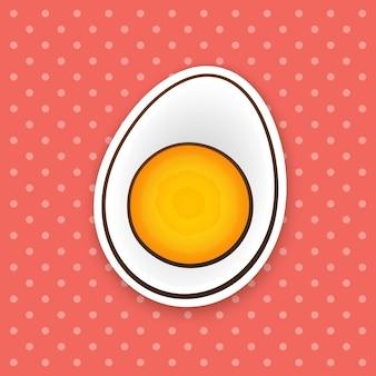 벡터 일러스트 레이 션 반 삶은 계란 건강 식품 컨투어 만화 스타일의 만화 스티커