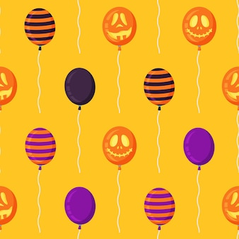 Vector illustration of the halloween balloons pattern. seamless drawing of scary halloween balloons. beautiful pattern with stirrup faces. yellow background.