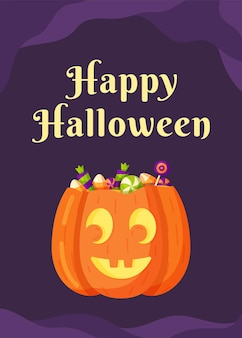 Vector illustration of halloween holiday. concept of a pumpkin with candy inside. drawing isolated on a purple background. trick or treat.