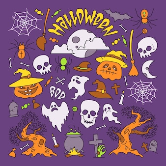 Vector illustration halloween party elements set of icons in cartoon style