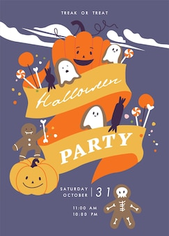 Vector illustration halloween party posters or invitation fall celebration leaflet horror helloween ...