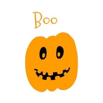 Vector illustration of halloween pumpkin in hand drawn cartoon style on white background.