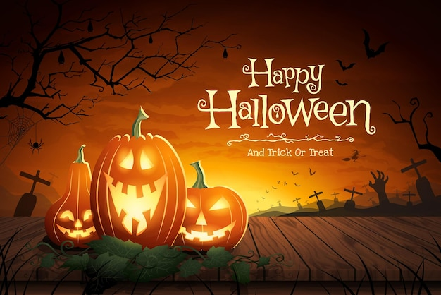 Vector illustration of halloween pumpkin on wood table floor with grave field in full moon a scary night background.