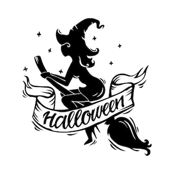 Vector illustration of a halloween silhouette of an evil witch with a hat on a broom. feed with text. objects are isolated. for your design.