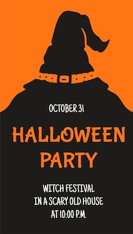 Vector illustration of a halloween ticket. banner with a halloween flyer. invitation flyer or halloween party template. silhouette.