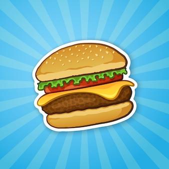 Векторная иллюстрация гамбургер с сыром, помидорами и салатом нездоровая пища наклейка
