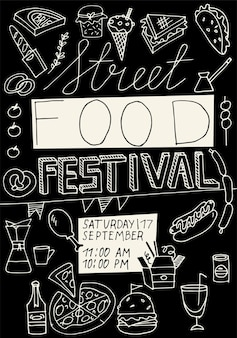 Vector illustration hand draw street food festival vertical poster or banner compostion with junk fo...