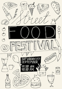 Vector illustration hand draw street food festival vertical poster or banner. compostion with junk food or fast food.